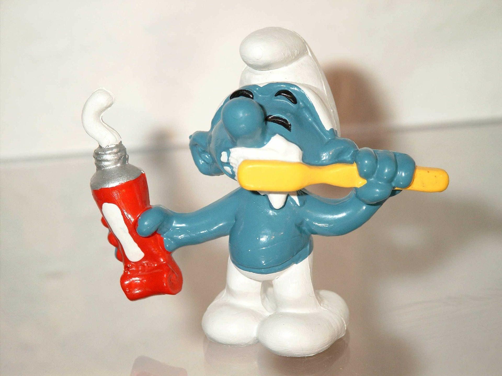 Zahnputz-Schlumpf mit Bürste und Tube